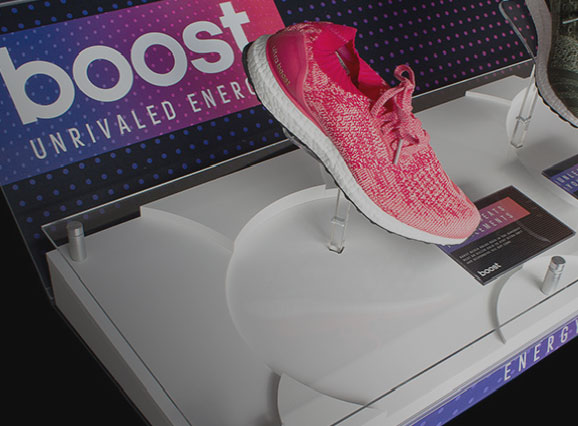 Adidas boost footwear display